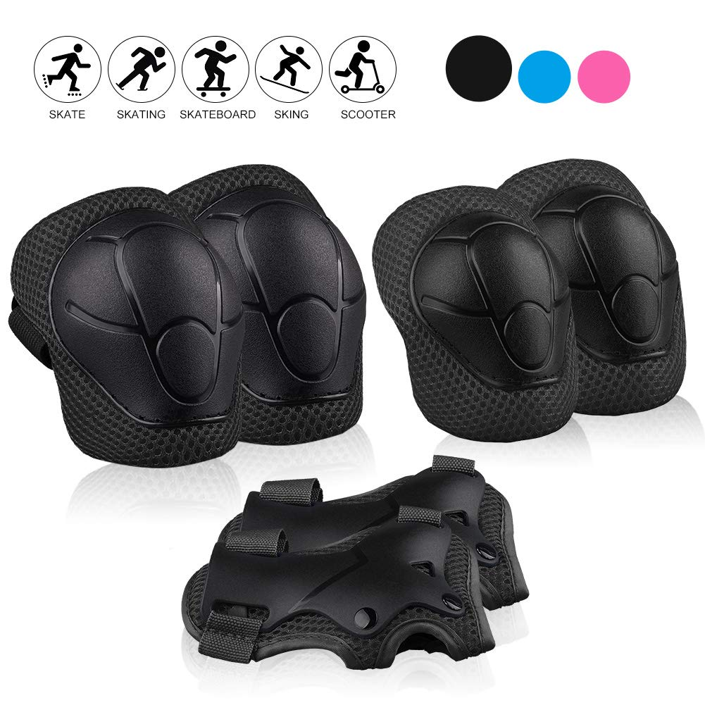 STARPOW Kids Protective Gear, Knee Pads for Kids Knee and Elbow Pads 6 in 1 Set with Wrist Guard and Adjustable Strap for Skating Cycling Bike Rollerblading Scooter Upgraded Version 4.0