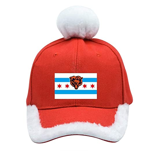 346b7014d Amazon.com: Chicago Bears Flag Christmas Baseball Cap Xmas Santa Claus Hat:  Clothing