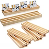Wooden Domino Racks Set of 8 - Exqline Premium Domino Trays Holders Organizer for Mexican Train Chickenfoot and Other…