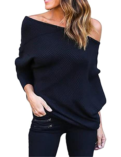 ABD Women's Off Shoulder Bat Wings Loose Pullover Sweater Knit Jumper  Black, Small