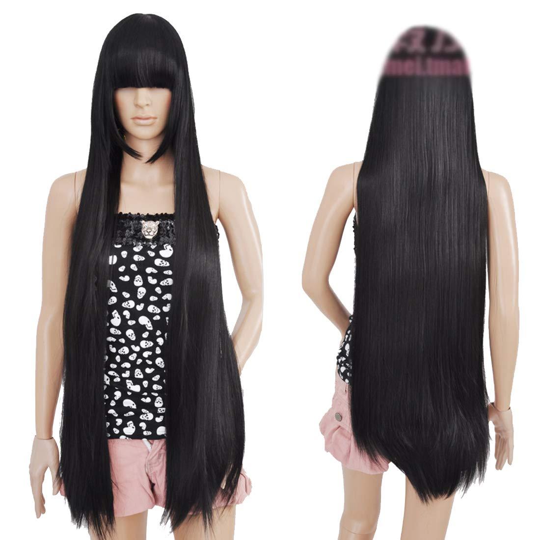 HOOLAZA Negro, largo y recto con flequillo peluca cosplay ...
