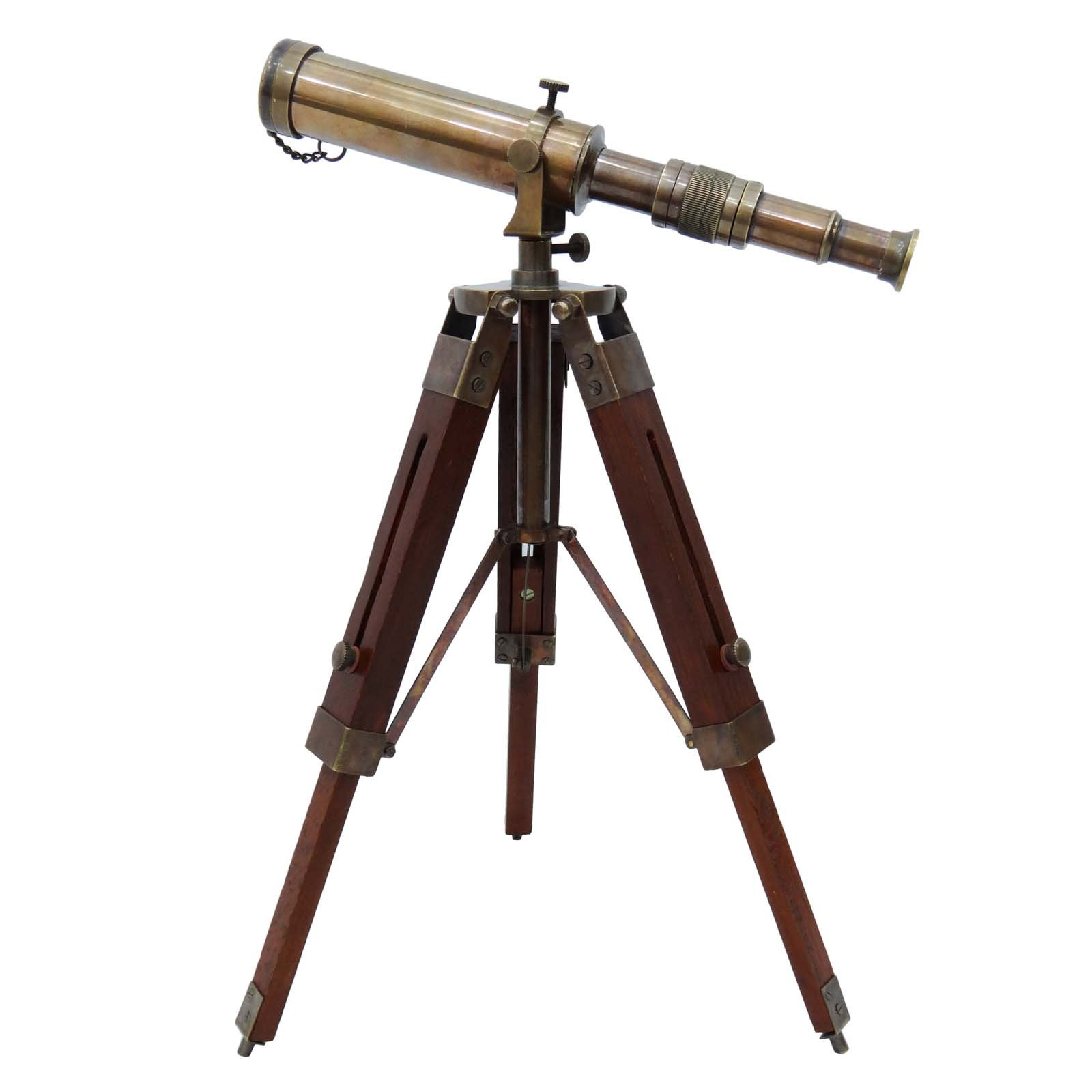 Telescope Brass Pirate Solid Spyglass Wood Decorative Stand Indian Nautical by TimeToTime