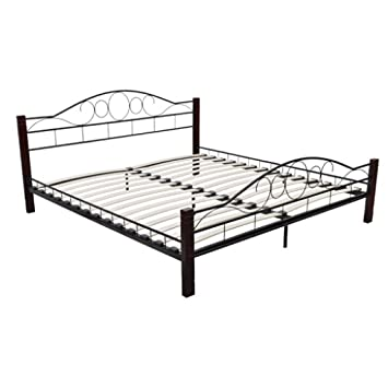 vidaXL Metal Bedframe Bed Frame Standard Double 140X200 CM Slat ...