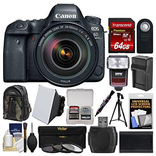 Canon EOS 6D Mark II Wi-Fi Digital SLR Camera & EF 24-105mm f/4L IS II USM Lens + 64GB Card + Backpack + Flash + Battery/Charger + Tripod + Filters Kit