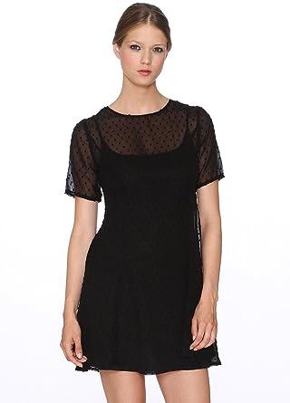 252cbab150e7 Pepaloves Damen Kleid Plumetis, Schwarz (Black), X-Small: Amazon.de ...