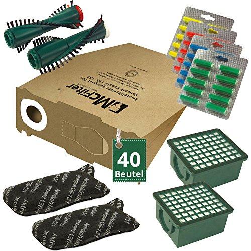 Spazzole si adatta per VORWERK FOLLETTO 131 sacchetti di filtro dei sacchetti 10 Sacchetto per aspirapolvere