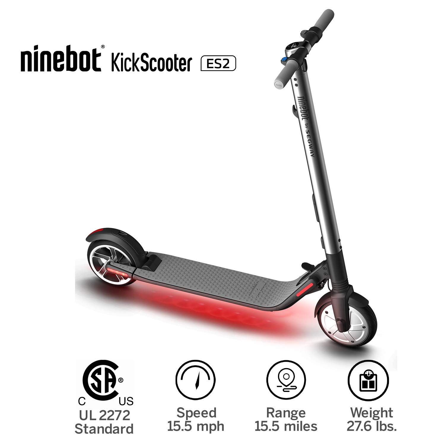 Segway Ninebot KickScooter ES2 Pro Electric Kick Scooter for Adults n Kids-  Mobility Folding e Scooter Upgraded Motor Power - Silver