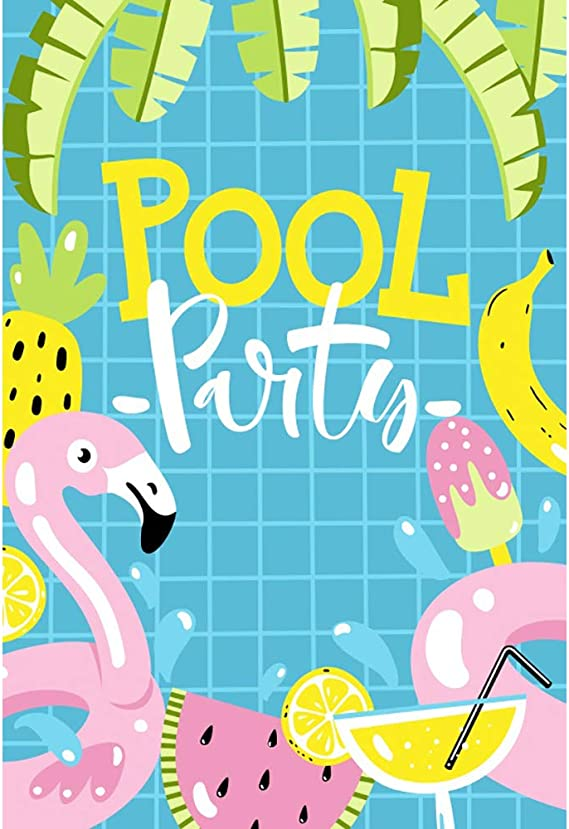 DORCEV 20x10ft Summer Swimming Pool Photography Backdrop Summer Pool Party Summer Holiday Theme Birthday Party Background Blue Water Ice-Cream Summer Room Wallpaper Kids Adult Photo Studio Props