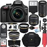 Nikon D3400 24.2MP DSLR Camera w/ AF-P 18-55 VR & 70-300mm Dual Lens Accessory Bundle - (Certified Refurbished) (Black)