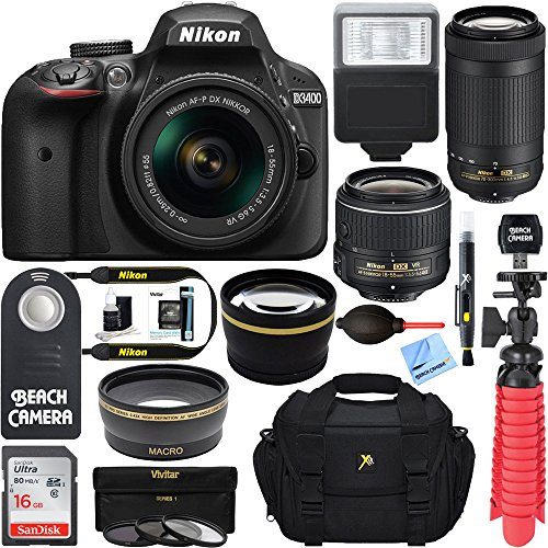 Nikon D3400 24.2MP DSLR Camera w/ AF-P 18-55 VR & 70-300mm Dual Lens Accessory Bundle (Black) - (Certified Refurbished)