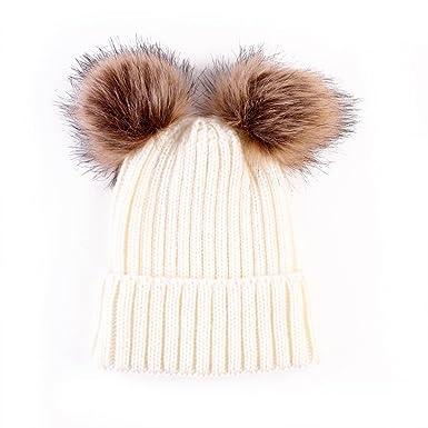 6845e23e244 I LOVE DIY Bonnet Pompon Bebe Garcon Fille Chapeaux Tricoté Enfant Hiver  Mignons avec 2 Pompon