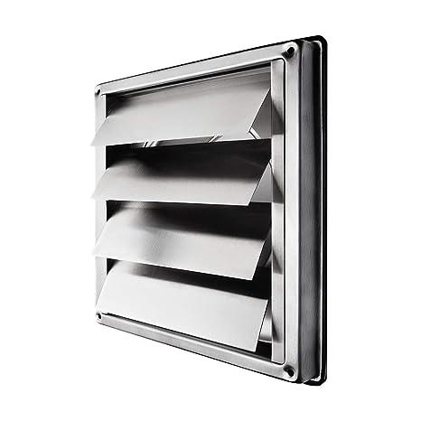 Klimapartner VKE 100 - Rejilla de Ventilación Aire Externo de Acero Inoxidable del Louvre Láminas