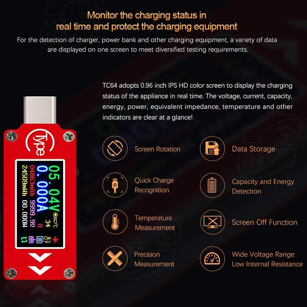 WINGONEER TC64 Type-C Color LCD Display USB Voltmeter Ammeter Voltage Current Meter Multimeter Battery PD Recharge Power Bank USB Tester