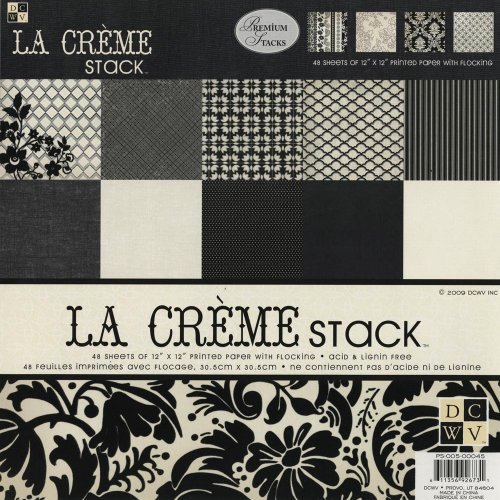 Diecuts with A View La Creme Paper Stack, 12-inches by 12-inches, 48 Sheets
