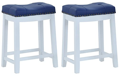 Angel Line Bar Stools, 24 Set of 2, White with Blue Cushion