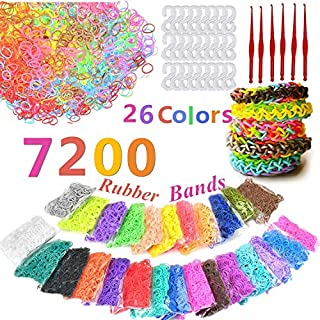 QINGYA 7200 pcs DIY Rubber Bands,26-Colors Assorted Loom Rubber Bands with Clip Connectors Refills Kit for Kids Bracelet Weaving DIY Crafting(7200 Rubber Bands+200 Clear S Clip+6 Hooks