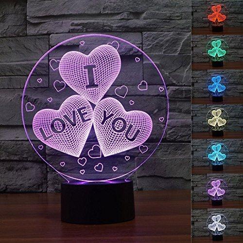 SUPERNIUDB Novelty Valentine 3D I Love You 3D Night Light LED USB 7 Color Change LED Table Lamp Xmas Toy Gift
