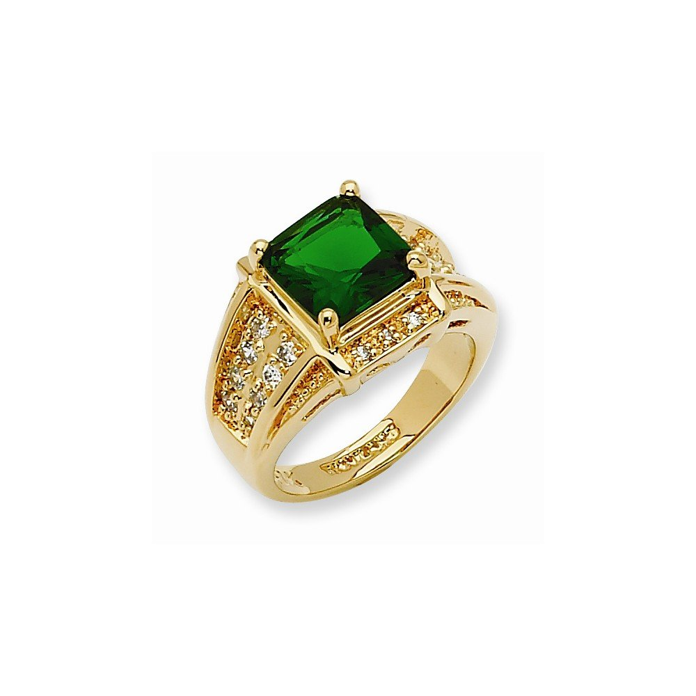 Amazon.com  Gold-plated Swarovski Crystal Green Princess-cut Ring ... 4233f844e