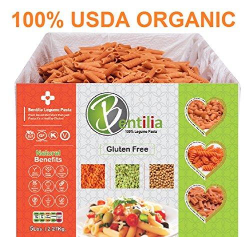 Bentilia Organic Lentil Pasta, Red Lentil Penne, 5 lb Bulk Case - 100% Natural, Low Glycemic Index, High Protein & Fiber, Non-GMO, Gluten Free Pasta
