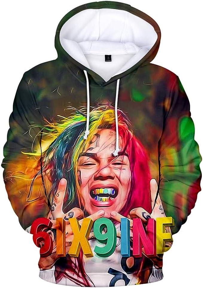 Maisley Unisexe Rapper R.I.P 6ix9ine Fan 3D T-Shirt /à Manches Courtes Impression num/érique 3D 6ix9ine pour Hommes et Femmes