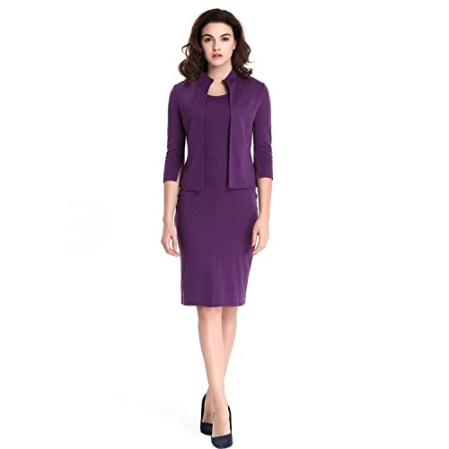 Women Office Dress Work Pencil Dress Formal Business Dress with Coat