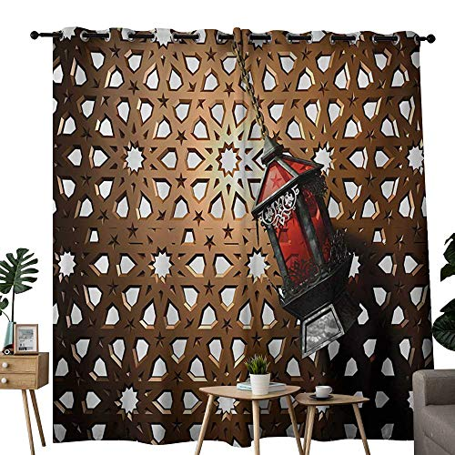 (NUOMANAN Living Room Curtains Lantern,Egyptian Fanoos in a 3D Style Realistic Illustration Moroccan Backdrop Design,Bronze Red Grey,Adjustable Tie Up Shade Rod Pocket Curtain 54