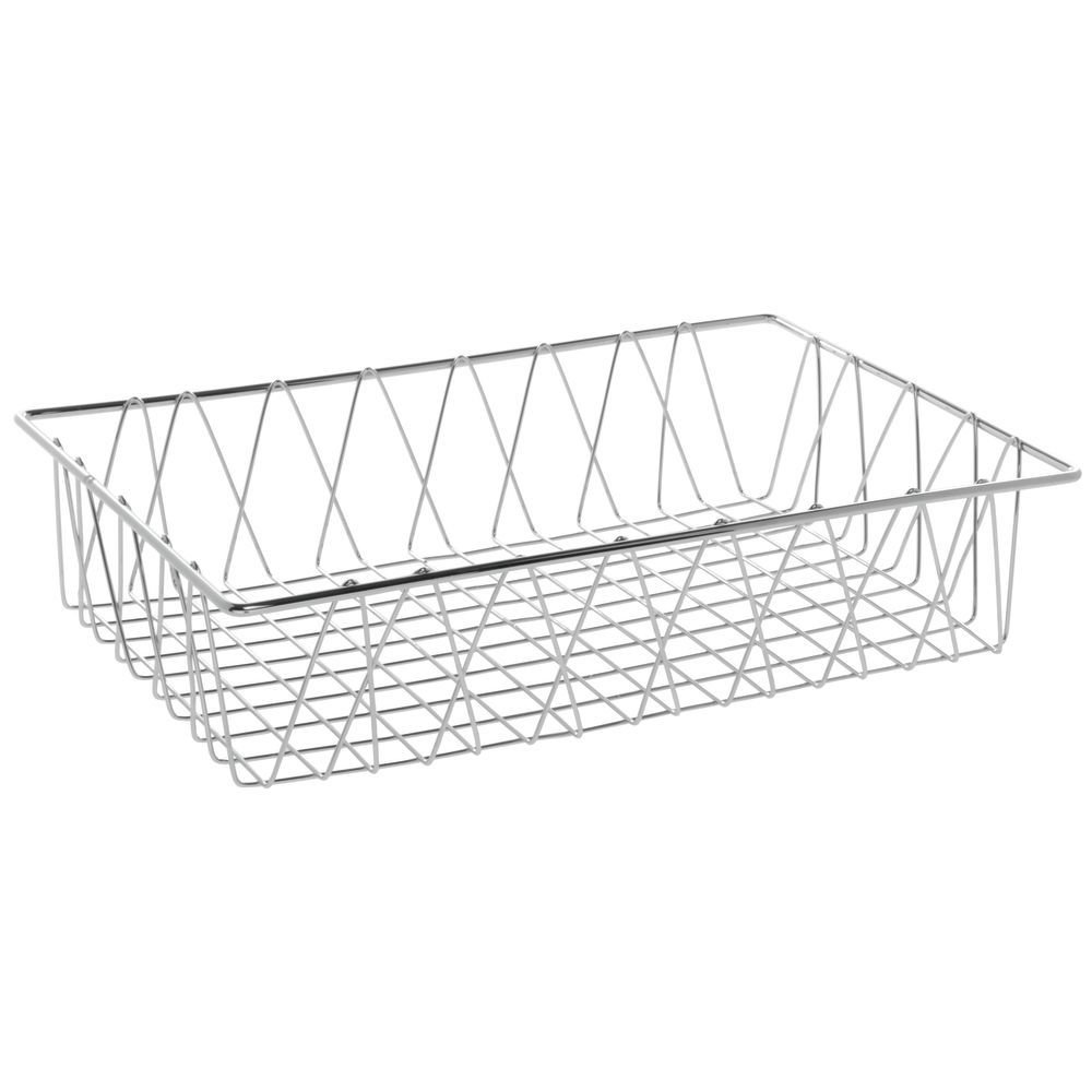 HUBERT Commercial Wire Display Basket Rectangular Chrome Plated Pastry Basket Bakery Tray- 18'L x 12'W x 4'H