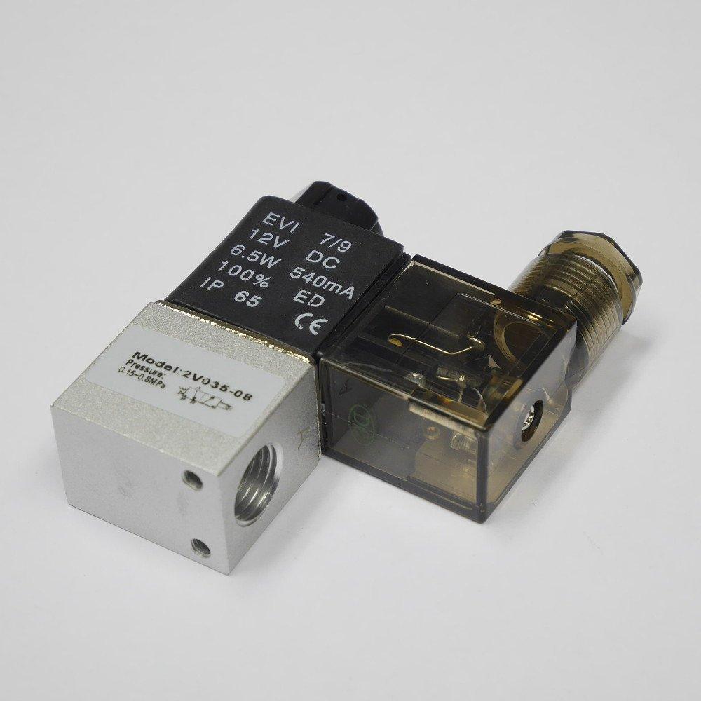 -DC12V NPT 2//2 way Pneumatic Solenoid Valve 1//4 DC12V 2V035-08
