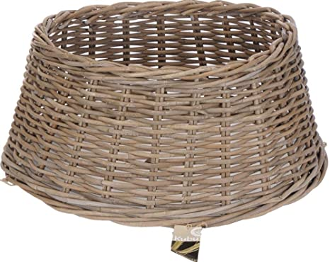Willow Christmas Tree Skirt Xmas Grey Natural Base Cover Wicker Rattan Rustic
