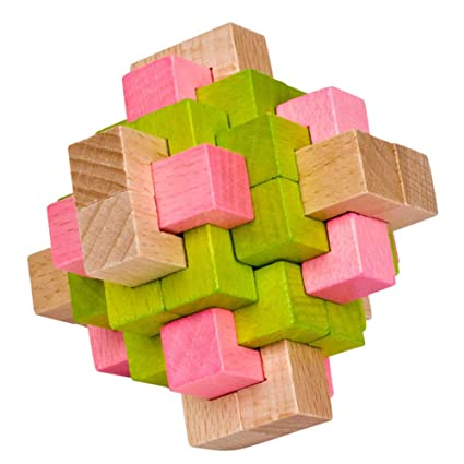 Adeeing Colorful 24 Locks Beech Assembly Toy Stress Reliver Adults Students Puzzles