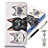 iPhone SE Case, iPhone 5 / 5s Case, Alfort 3 in 1 Fashion Design Dual-Use Flip Phone Case Cover Fold Premium PU Leather Book Wallet Style Case Stand Cover & Screen Protector Support Function for Apple iPhone SE / 5 / 5s Smartphone Image Three Cats ( White ) + Cute Crystal Dust Plug + Crystal Stylus Pen