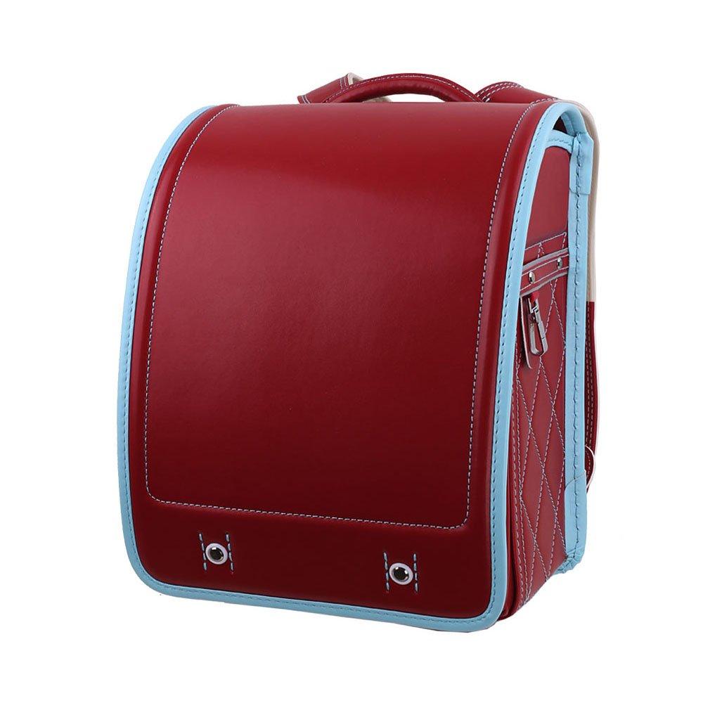 LOONTS ランドセル 通学鞄 schoolbag A4クリアファイル 男の子 女の子 小学生 防水 6年間保証 B07BMQ3CCF ワインレッド ワインレッド