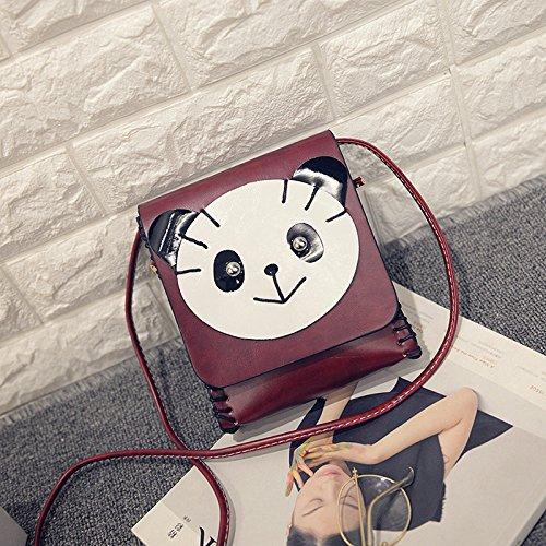 Solo Bolso De Hombro Diagonal Tendencia De Coreano Cartoon Lovely Lady Bolso De Mano,Perro Marron Claro Panda rojo vino