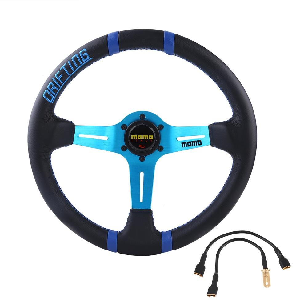 Acouto Universal Frame Steering Wheel Leather 6-Bolt Car Racing W/ Horn Aluminum 350mm 14in(Blue)