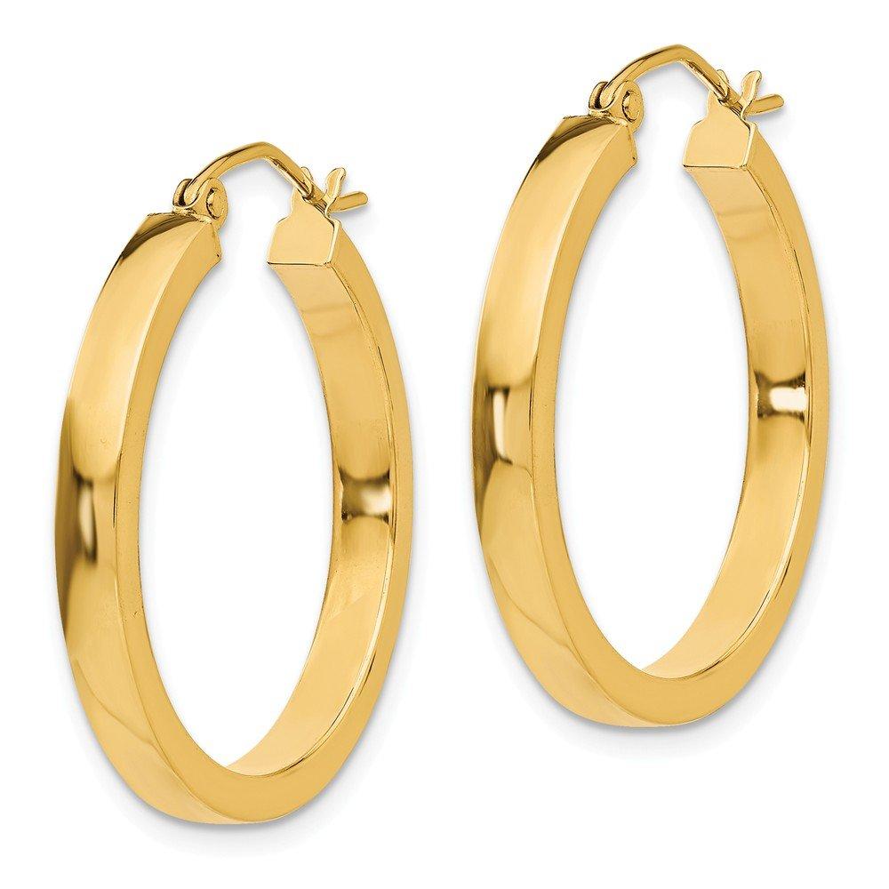 Mia Diamonds 14k Yellow Gold 2x3mm Square Tube Hoops