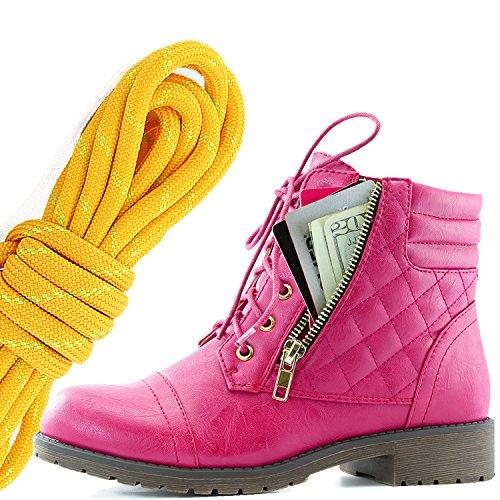 Dailyshoes Kvinners Militære Snøring Spenne Kamp Støvler Ankelen Høyt Eksklusivt Kredittkort Lomme, Mandarin Lime Hot Pink Pu
