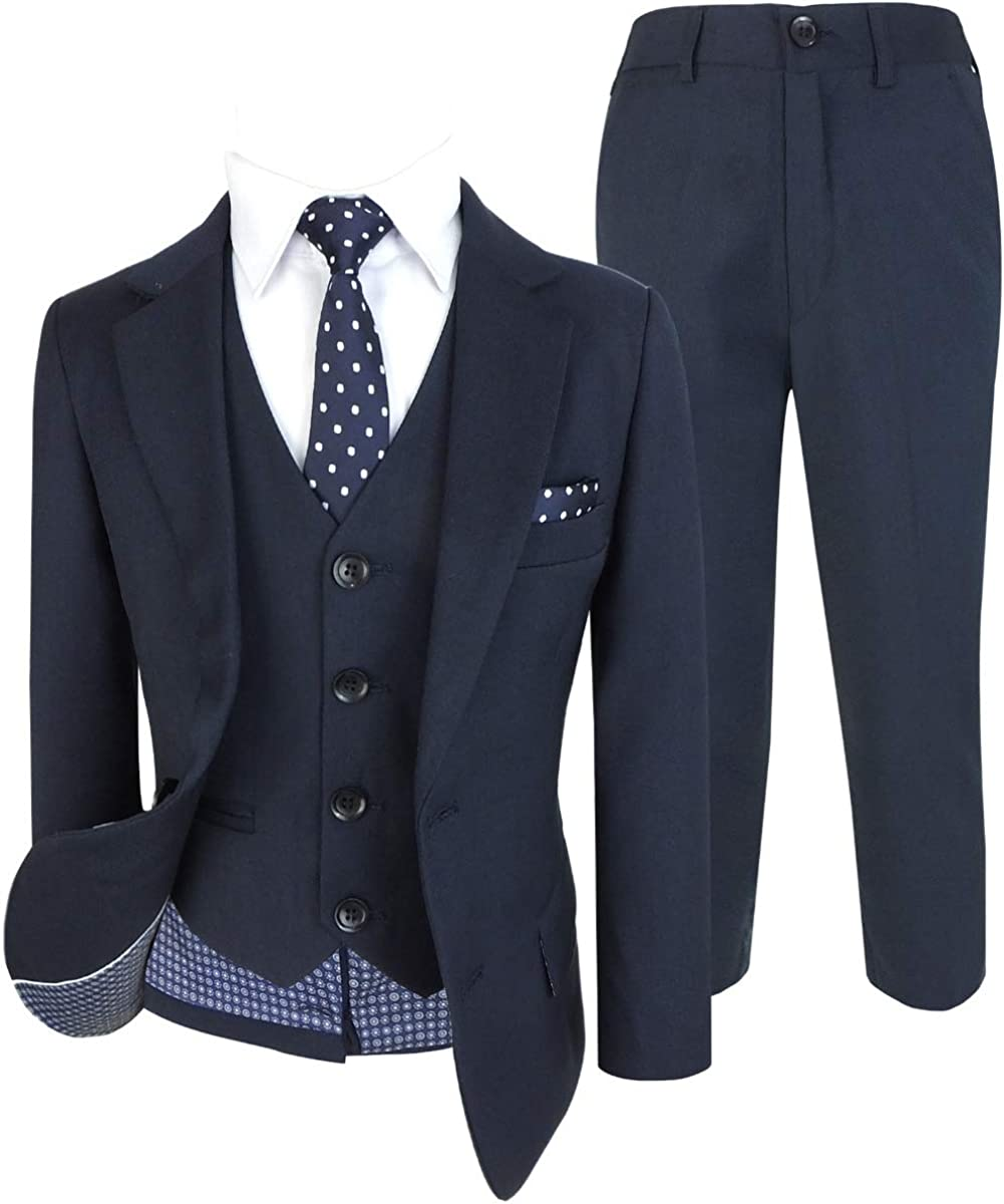 Cocktail Italian Design All in One Boys Suits 6 Piece Formal Wedding Complete Set