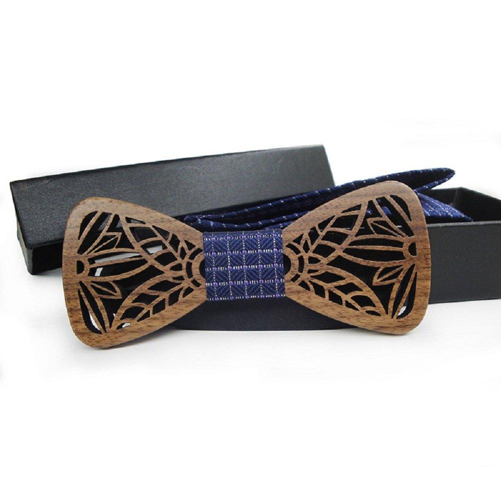 Blue Amzchoice Handmade Mens Black Walnut Wood Bow Tie Large