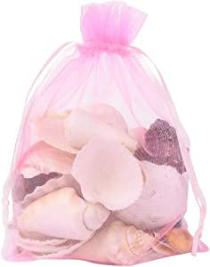PH PandaHall 100 PCS 5x7 inch Pink Organza Drawstring Bags Party Wedding Favor Gift Bags for Baby Shower, Birthday, Party, Christmas