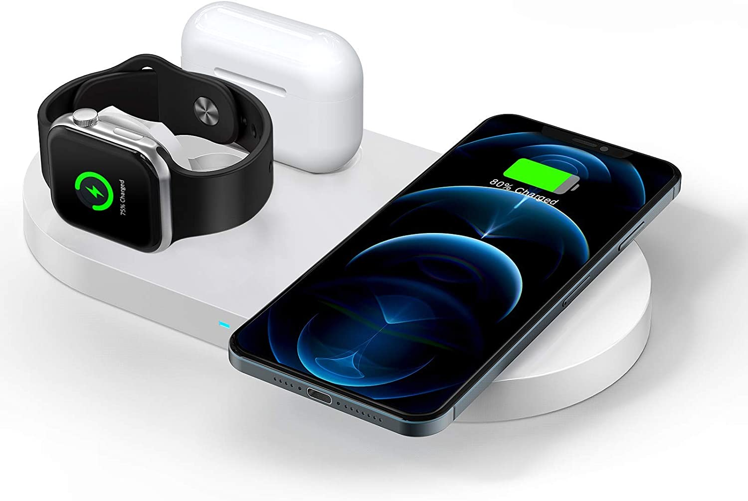 QI-EU Wireless Charger, 23W Fast Wireless Charging Station,3 in 1 Qi-Certified Charging Pad Stand for iWatch SE/6/5/4/3/2 Airpods 1/2/Pro iPhone 12/12 Pro/12 Pro Max/12 mini/11/11 Pro/SE/8/X/XR