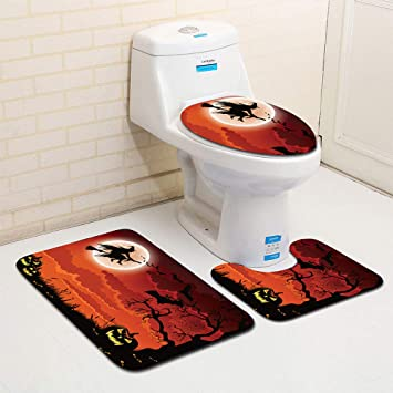 Amazon Com Halloween Bath Mat Bathroom Rug Carpet Toilet Seat