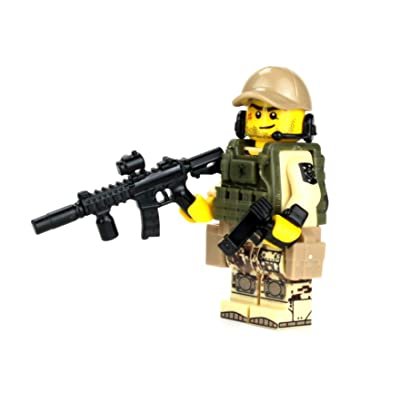 Battle Brick Marine Raider Special Forces Minifigure (SKU61) Custom Minifigure: Toys & Games