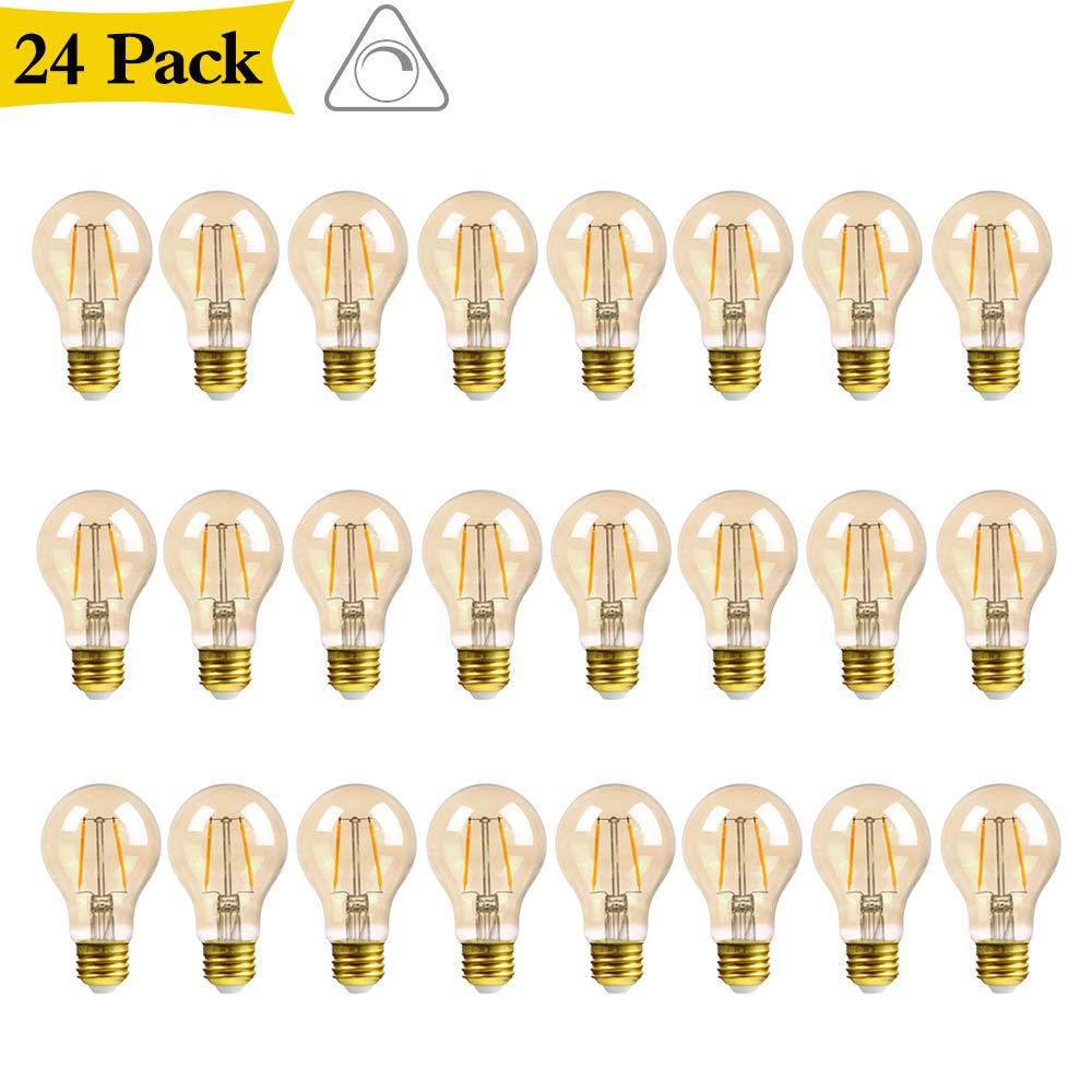 GMY Lighting A19 2.5W Edison LED Light Bulb Vintage Filament Amber Bulb Equivalent 17W Incandescent 120V E26 2200K Warm White- 24Pack