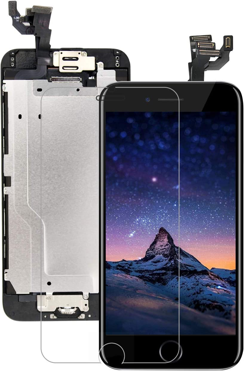 Pre-Assembled for iPhone 6 Screen Replacement with Home Button 4.7 Inch LCD Touch Digitizer Display with Front Camera, Ear Speaker, Facing Proximity Sensor, Repair Tools A1549 A1586 A1589 (Black)