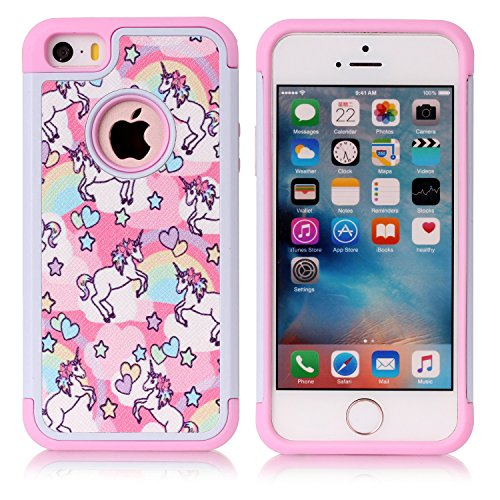 iPhone 5S Case, iPhone SE Case, Rainbow Unicorn Patchwork Pattern Shock-Absorption Hard PC and Inner Silicone Hybrid Dual Layer Armor Defender Protective Case Cover for Apple iPhone 5/5S iPhone SE (Best Friend Iphone 5 And 5c Cases)