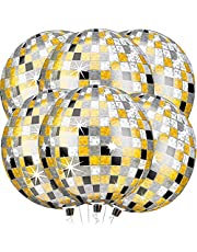 Large, 22 Inch Gold Black and Silver Disco Balloons - Disco Theme Birthday Decorations | Metallic 4D Sphere Foil Disco Ball Balloons, Pack of 6 | Mirror Finish Disco Round Balloons for Retro Party