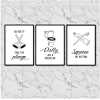 Hxjlm Cartoon Toothpaste Toilet Suction Cup Posters And Prints Wall Art Canvas Painting Black White Wall Pictures For Bathroom Decor 40X50Cmx3