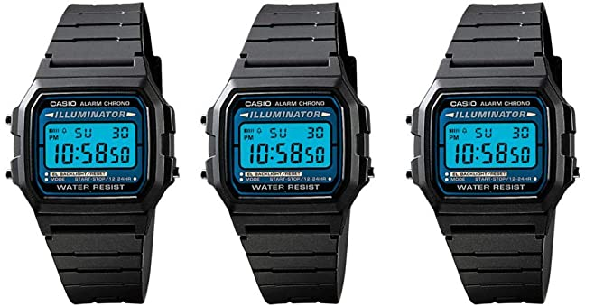 Casio Mens Special Package Deal 3 Illuminator Chronograph Alarm Watches Model F-105W