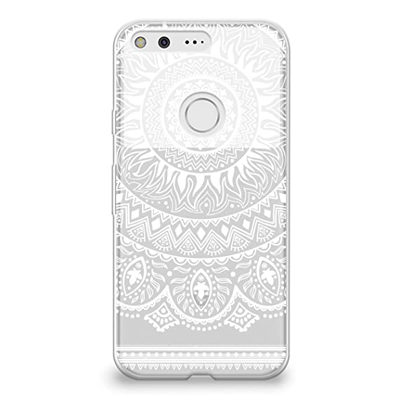 huge selection of 1b380 85b97 CasesByLorraine Google Pixel Case, White Mandala Pattern Clear Transparent  Case Flexible TPU Soft Gel Protective Cover for Google Pixel (P46)