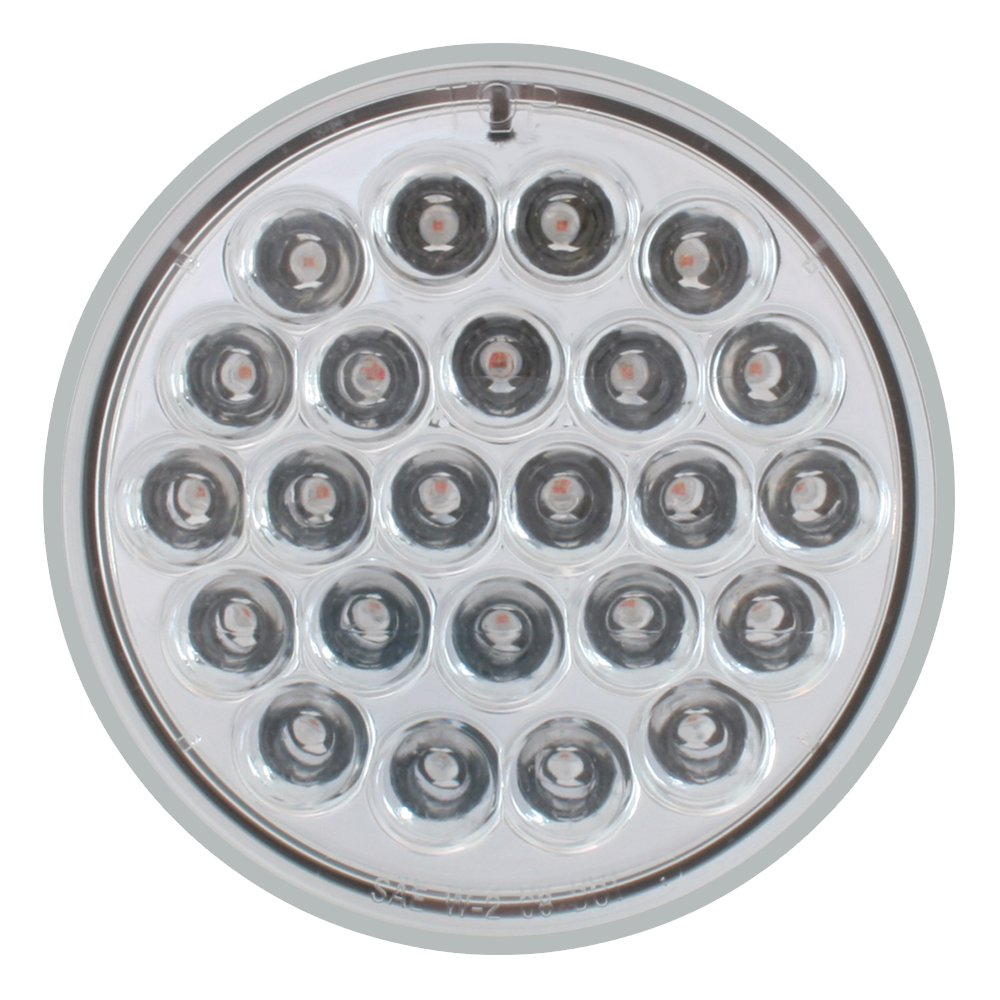 Grand General 76509 4 Round Pearl Series White 24 LED Strobe Sealed Light with Clear Lens